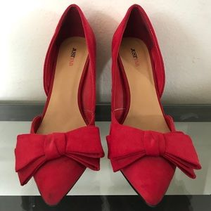 Just Fab Red Bow Heels
